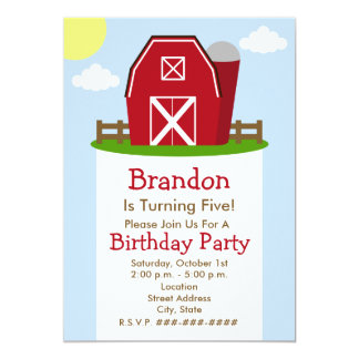 Red Barn Farm Birthday Party Invitation