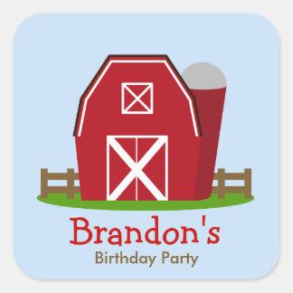 Red Barn Farm Personalized Birthday Party Sticker