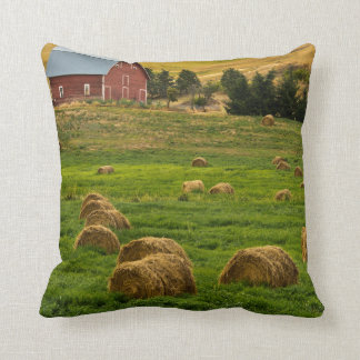 Red Barn, hay bales, Albion, Palouse Area 2 Cushion