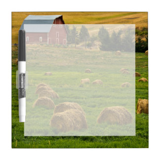 Red Barn, hay bales, Albion, Palouse Area 2 Dry Erase Whiteboard