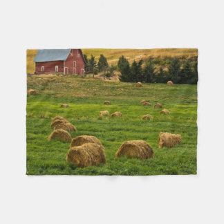 Red Barn, hay bales, Albion, Palouse Area 2 Fleece Blanket