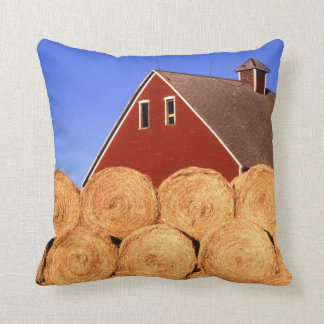 Red Barn Hay Bales Farm Cushion