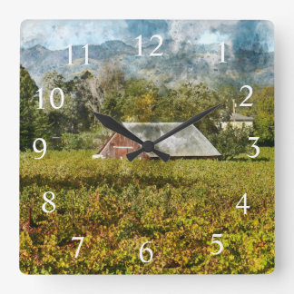 Red Barn in a Napa Valley California Vineyard Square Wall Clock