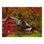 Red Barn in Autumn Posters