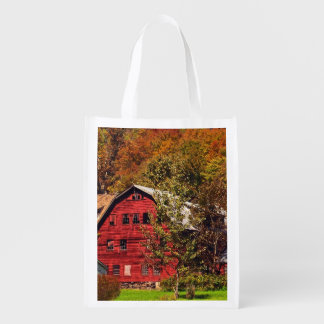 Red Barn in Autumn Reusable Grocery Bag