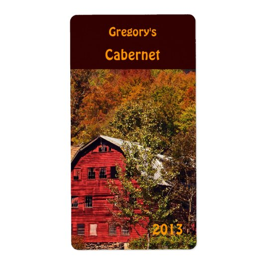 Red Barn in Autumn Wine Label Shipping Label