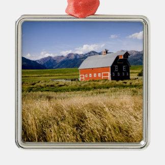Red barn in field near Joseph, Oregon, USA Christmas Ornament