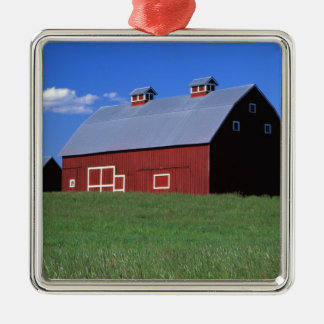 Red barn in Latah County, Idaho state PR MR) Silver-Colored Square Decoration