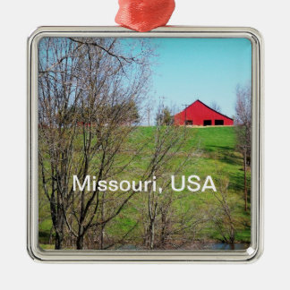 Red Barn in Missouri Christmas Ornament