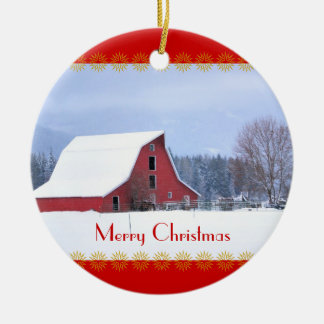 Red Barn in Snow, Christmas Ornament