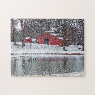 Red Barn In Snow Painterly Jigsaw Puzzle