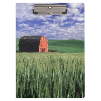 Red barn in wheat & barley field in Whitman 2 Clipboard