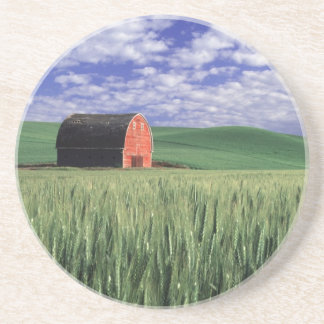 Red barn in wheat & barley field in Whitman 2 Coaster