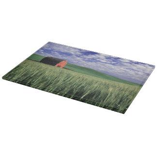 Red barn in wheat & barley field in Whitman 2 Cutting Board