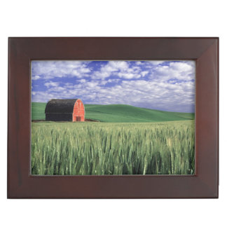 Red barn in wheat & barley field in Whitman 2 Keepsake Box