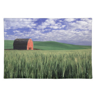 Red barn in wheat & barley field in Whitman 2 Placemat
