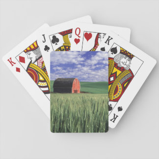 Red barn in wheat & barley field in Whitman 2 Playing Cards