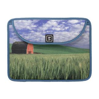 Red barn in wheat & barley field in Whitman 2 Sleeve For MacBooks