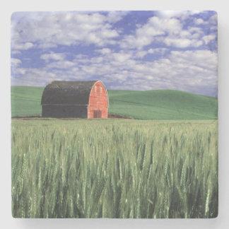 Red barn in wheat & barley field in Whitman 2 Stone Coaster