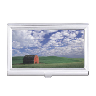Red barn in wheat & barley field in Whitman Business Card Holder