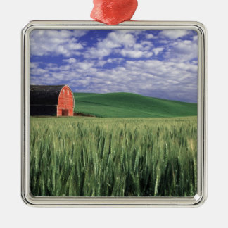 Red barn in wheat & barley field in Whitman Christmas Ornament