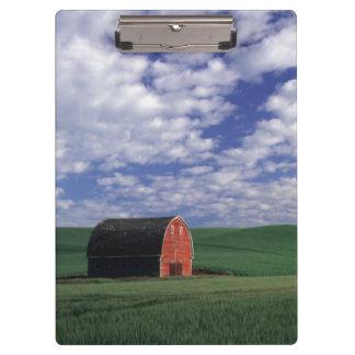 Red barn in wheat & barley field in Whitman Clipboard