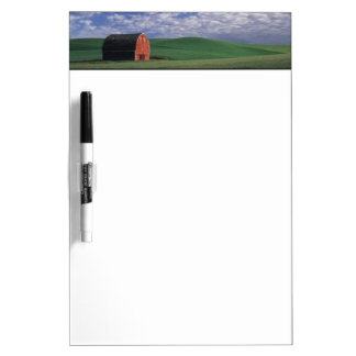 Red barn in wheat & barley field in Whitman Dry Erase Board