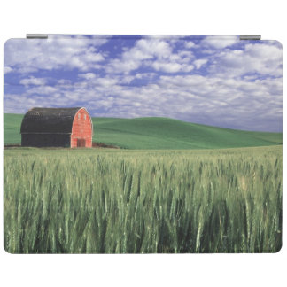 Red barn in wheat & barley field in Whitman iPad Cover