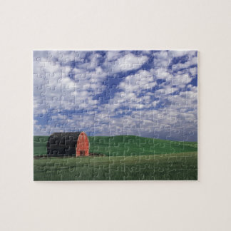 Red barn in wheat & barley field in Whitman Jigsaw Puzzle