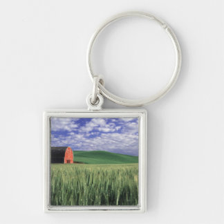 Red barn in wheat & barley field in Whitman Key Ring