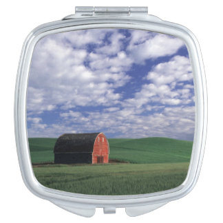 Red barn in wheat & barley field in Whitman Mirror For Makeup