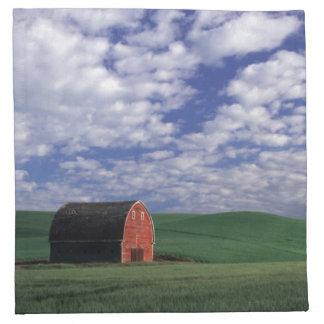 Red barn in wheat & barley field in Whitman Napkin