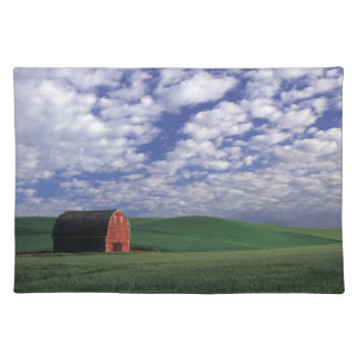 Red barn in wheat & barley field in Whitman Placemat