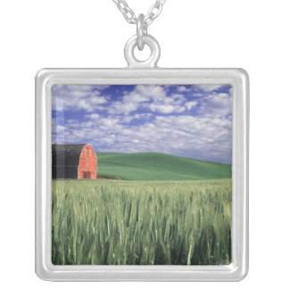 Red barn in wheat & barley field in Whitman Silver Plated Necklace