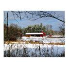 Red Barn in Winter, Scenic Landscape Postcard
