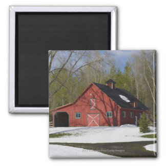 Red Barn In Winter Square Magnet