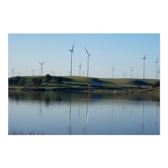 Red Barn On a Wind Farm Poster