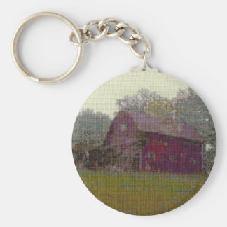 Red Barn on the Hill Basic Round Button Key Ring