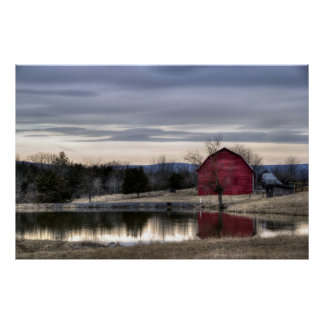 Red Barn Reflection in Water HDR Photo Poster