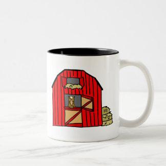 Red Barn Scene Horse Farm Stall Equine Two-Tone Coffee Mug
