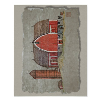 Red Barn Silo Poster