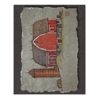 Red Barn & Silo Poster