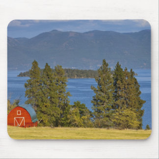 Red barn sits along scenic Flathead Lake near Mouse Mat