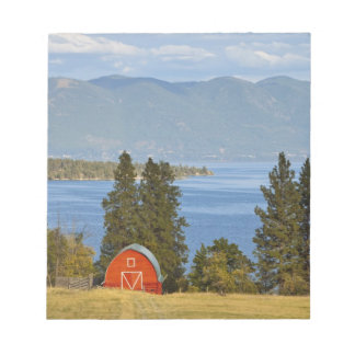 Red barn sits along scenic Flathead Lake near Notepad
