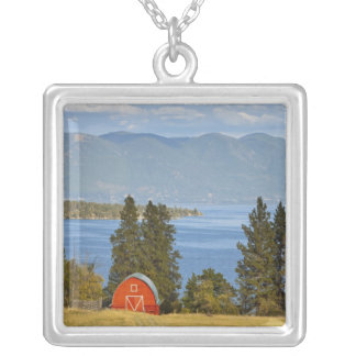 Red barn sits along scenic Flathead Lake near Silver Plated Necklace