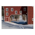 Red barn winter greeting card