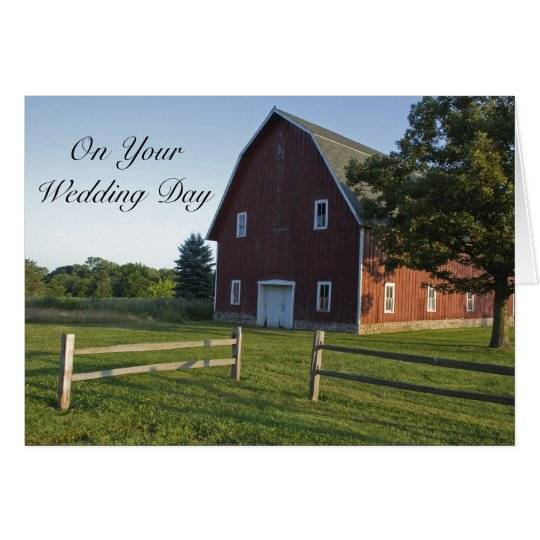 Red Barn with Fence Blended Family Wedding Card