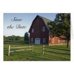 Red Barn with Fence Save the Date Announcement