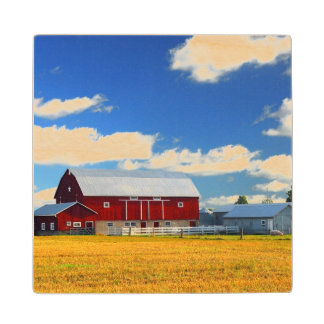 Red Barn Wood Coaster