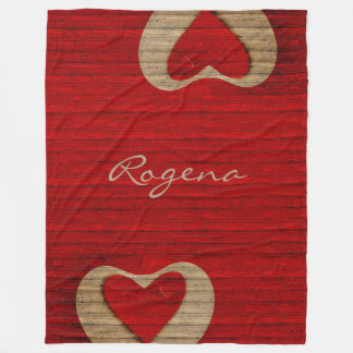Red Barn Wood - Red Heart - BLANKET LGE